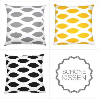kissen kombination schwarz gelb grau wei grafisch50 x 50 cm. Black Bedroom Furniture Sets. Home Design Ideas