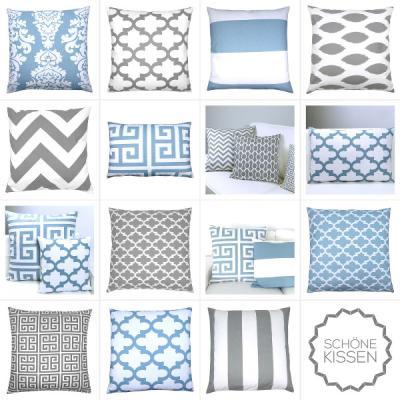 kissen hellblau grau kombination 50 x 50 cm. Black Bedroom Furniture Sets. Home Design Ideas