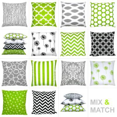 Kissen Grün Weiß Grau Schwarz Kombination Grafisch 40 X 40 Cm