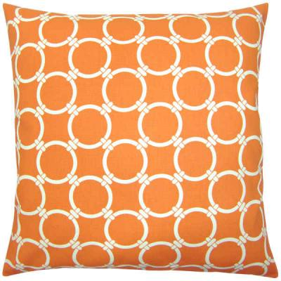 Kissenhülle orange LINKED natur grafisch Kissen Landhausstil 40 x 40 cm