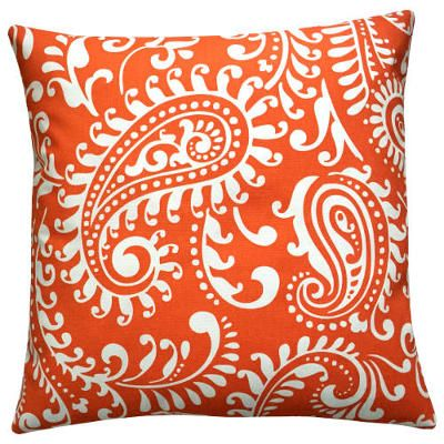 Kissenhülle WALKER orange weiß Paisley 50 x 50 cm