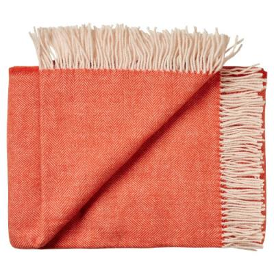 Wolldecke Plaid JURA orange natur Alpaka Merino Fischgrat