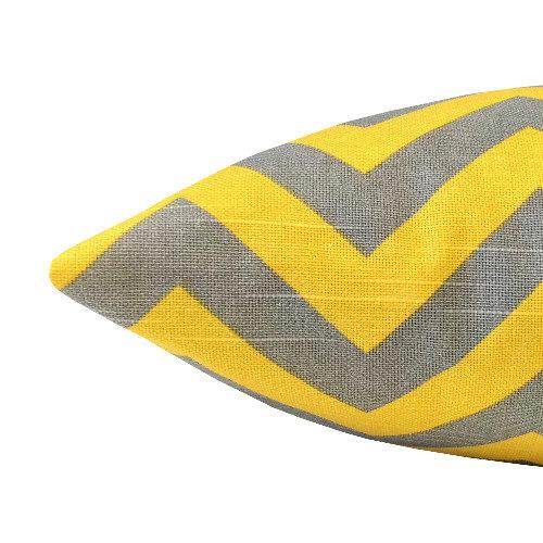 kissenbezug chevron gelb grau wei zickzack streifen leinenoptik 50 x 50. Black Bedroom Furniture Sets. Home Design Ideas