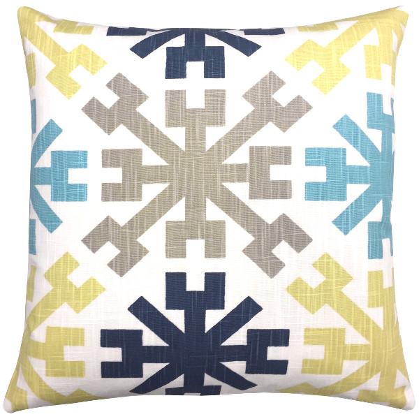 Kissen Mayan Mit Ethno Muster Intürkis Aquablau Gelb Sand 50 X 50 Cm