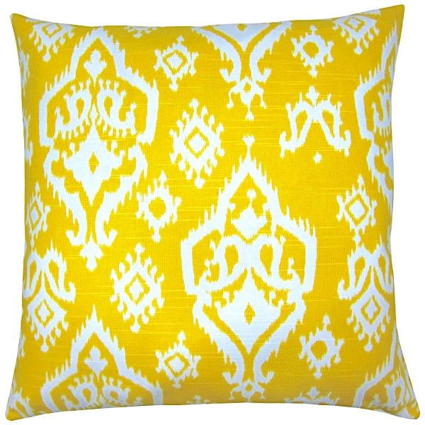 kissenbezug raji ikat gelb wei leinenoptik 40 x 40 cm. Black Bedroom Furniture Sets. Home Design Ideas
