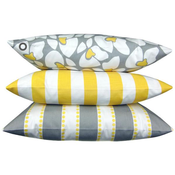 1 kissenh lle helen grau gelb blumen 40 x 40 cm. Black Bedroom Furniture Sets. Home Design Ideas