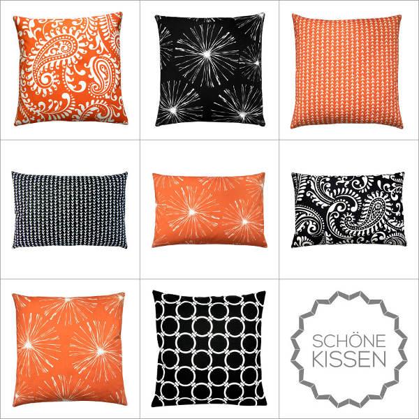 Kissenbezug VINE orange weiß Ranken Reben grafisch 30 x 50 cm