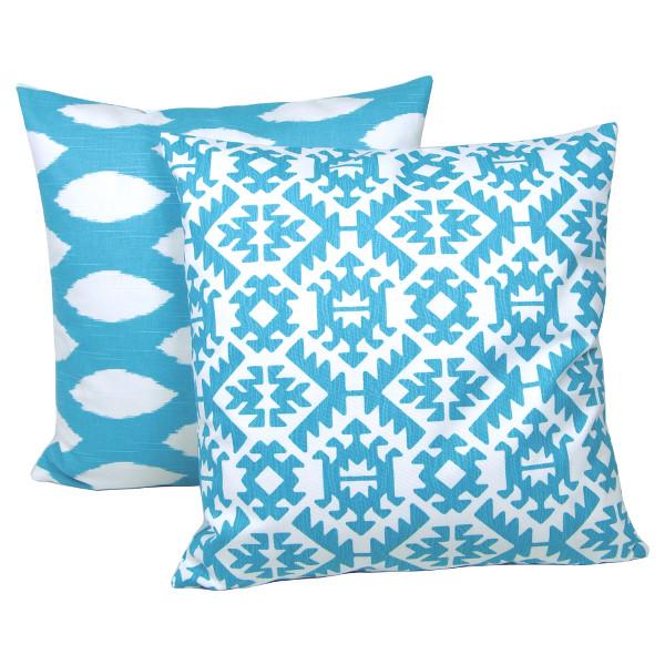 dekokissen pawnee t rkis aqua blau ikat maritim bodenkissen 60 x 60 cm. Black Bedroom Furniture Sets. Home Design Ideas