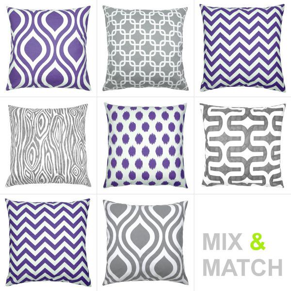 kissenbezug chevron violett lila zickzack leinenoptik 40 x 60 cm. Black Bedroom Furniture Sets. Home Design Ideas