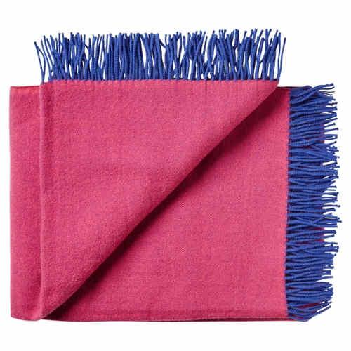 wolldecke regina pink blau uni doubleface aus feiner merinowolle 130 x 190 cm. Black Bedroom Furniture Sets. Home Design Ideas