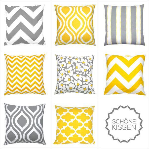 kissenbezug chevron gelb wei gezackt leinenoptik 50 x 50 cm. Black Bedroom Furniture Sets. Home Design Ideas