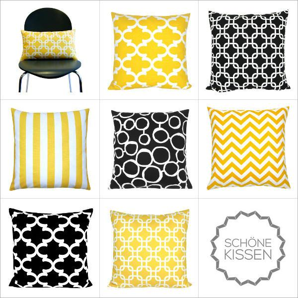 kissenh lle chevron gelb wei gezackt leinenoptik 40 x 40 cm. Black Bedroom Furniture Sets. Home Design Ideas