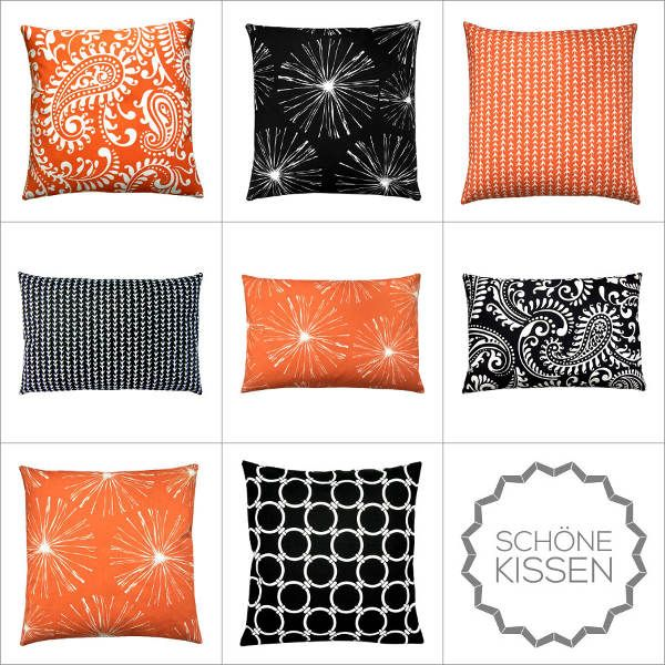kissen orange schwarz kombination grafisch geometrisch. Black Bedroom Furniture Sets. Home Design Ideas