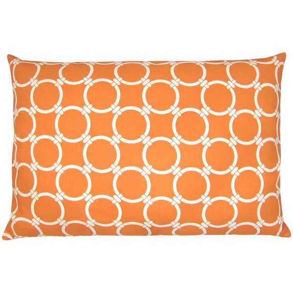 Stylisches Kissen mit Ringmuster in orange-natur 40 x 60 cm