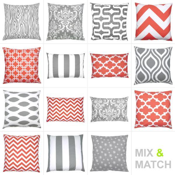 kissen korall rot wei grau grafisch kombination 40 x 40 cm. Black Bedroom Furniture Sets. Home Design Ideas